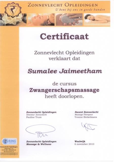 Diploma Zwangerschap Massage Mandarin Spa Nijmegen Uden