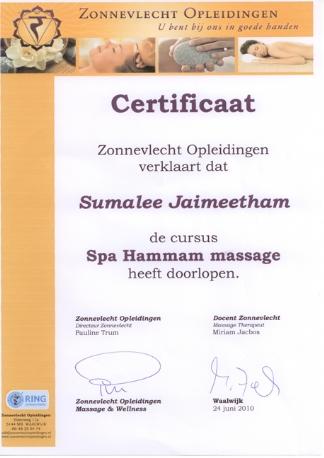 Diploma Hammam Massage Mandarin Spa Nijmegen Uden
